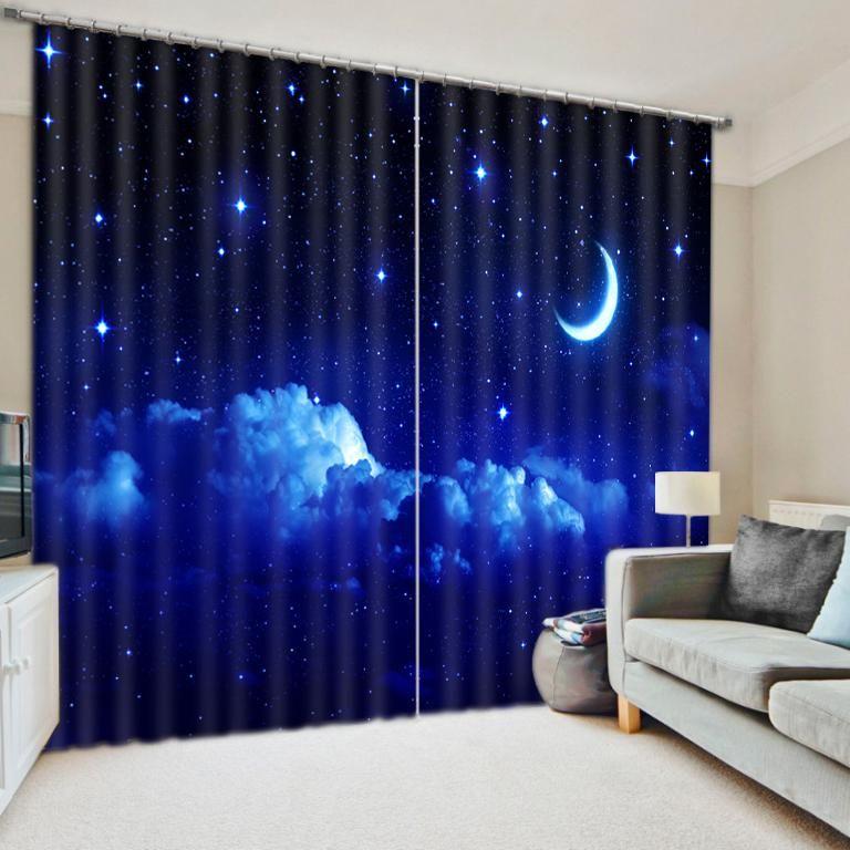 Galaxy Wars Night 3d Blue Planet Modern Luxury Curtains Fantasy