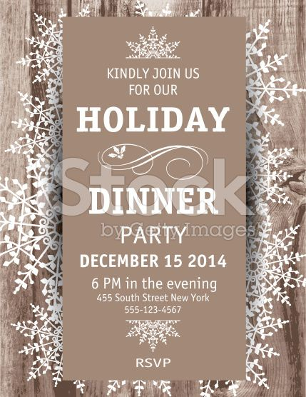 Woodgrain textured background Snowflake Christmas Dinner vertical - christmas dinner invitations templates free