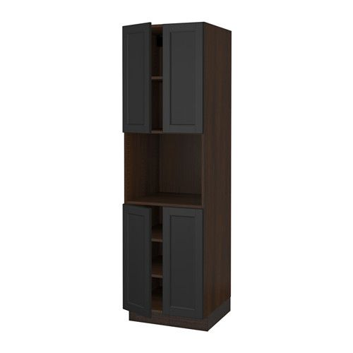 Sektion High Cabinet For Microwave 4doors Wood Effect Brown Laxarby Black