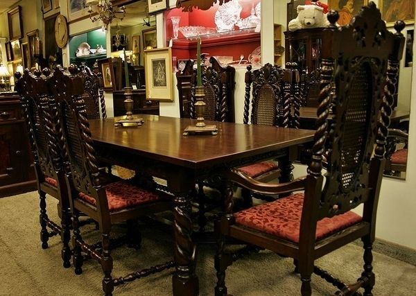 1920 30 English Jacobean Walnut Dining Set Antique Dining Room