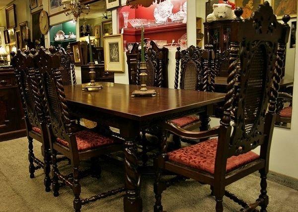 1920 30 ENGLISH JACOBEAN WALNUT DINING SET Antique Dining Rooms, Dining  Room Sets,