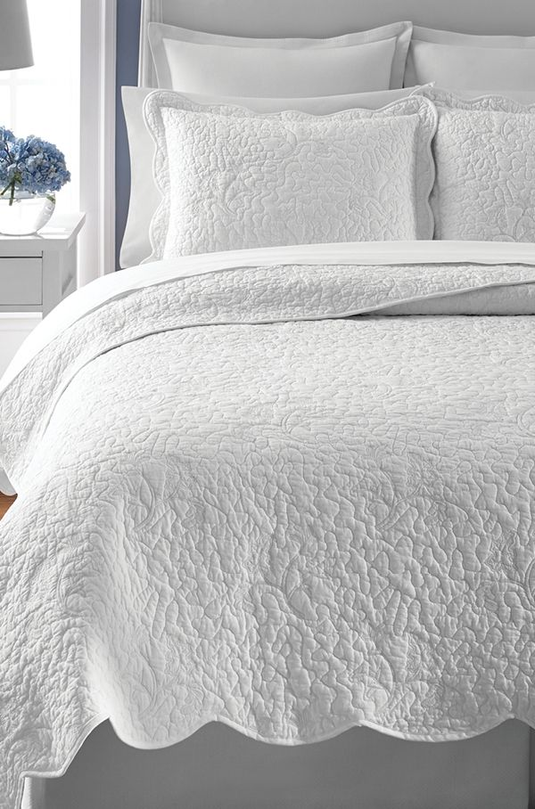 Martha Stewart Collection Whisper Leaves White Quilts Only At Macy S Quilts Bedspreads Bed Bath Macy S Bed Spreads White Quilt Bedding White Quilt