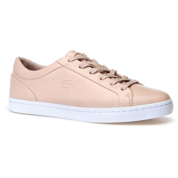 Lacoste Women's Straightset Sneakers ($140) ❤ liked on Polyvore featuring shoes, sneakers, pink, sneakers sneakers, pink sneakers, crocs shoes, tennis shoes, pink tennis shoes and leather sneakers