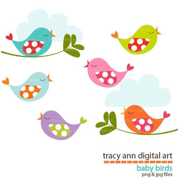 Baby Birds Clip Art New By Tracyanndigitalart On Etsy 4 95 Baby Applique Clip Art Doodle Art Journals