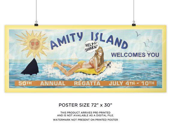 Vintage JAWS Movie  iconic Billboard  VINYL  Banner   huge