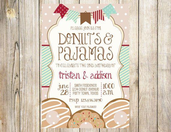 Donuts and pajamas birthday party invitation by emmyjosparties donuts and pajamas birthday party invitation by emmyjosparties filmwisefo Images