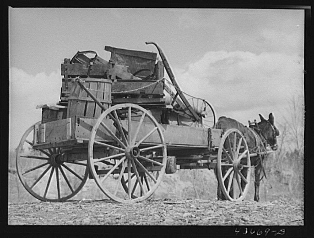 Photogrammar - The last load to go. A tenant farmer's belongings being moved out of the Camp Croft area. Near Pacolet, South Carolina region. March 1941, Jack Delano.