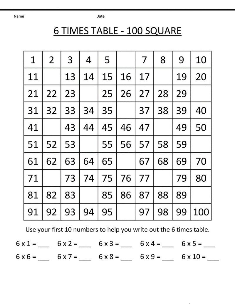 6 Times Table Worksheets Printable