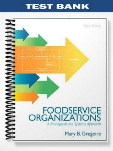 Test Bank For Food Service Organizations A Managerial And