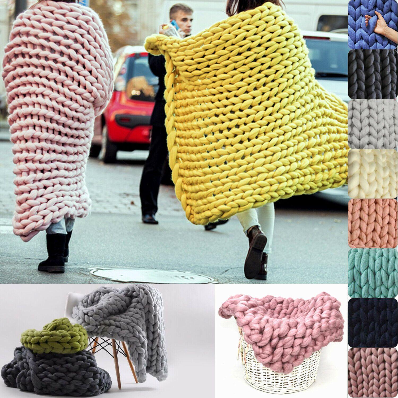 Warm Sofa Chunky Handmade Knit Yarn Blanket Thick Bulky Knitted Throw Home Decor Kitchen Sofa Ideas Of In 2020 Knitted Throws Knitted Blankets Chunky Knit Blanket