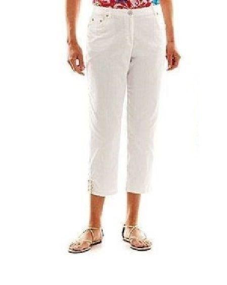 Details about Lark Lane 5 Pocket Stretch twill Capri pants white ...