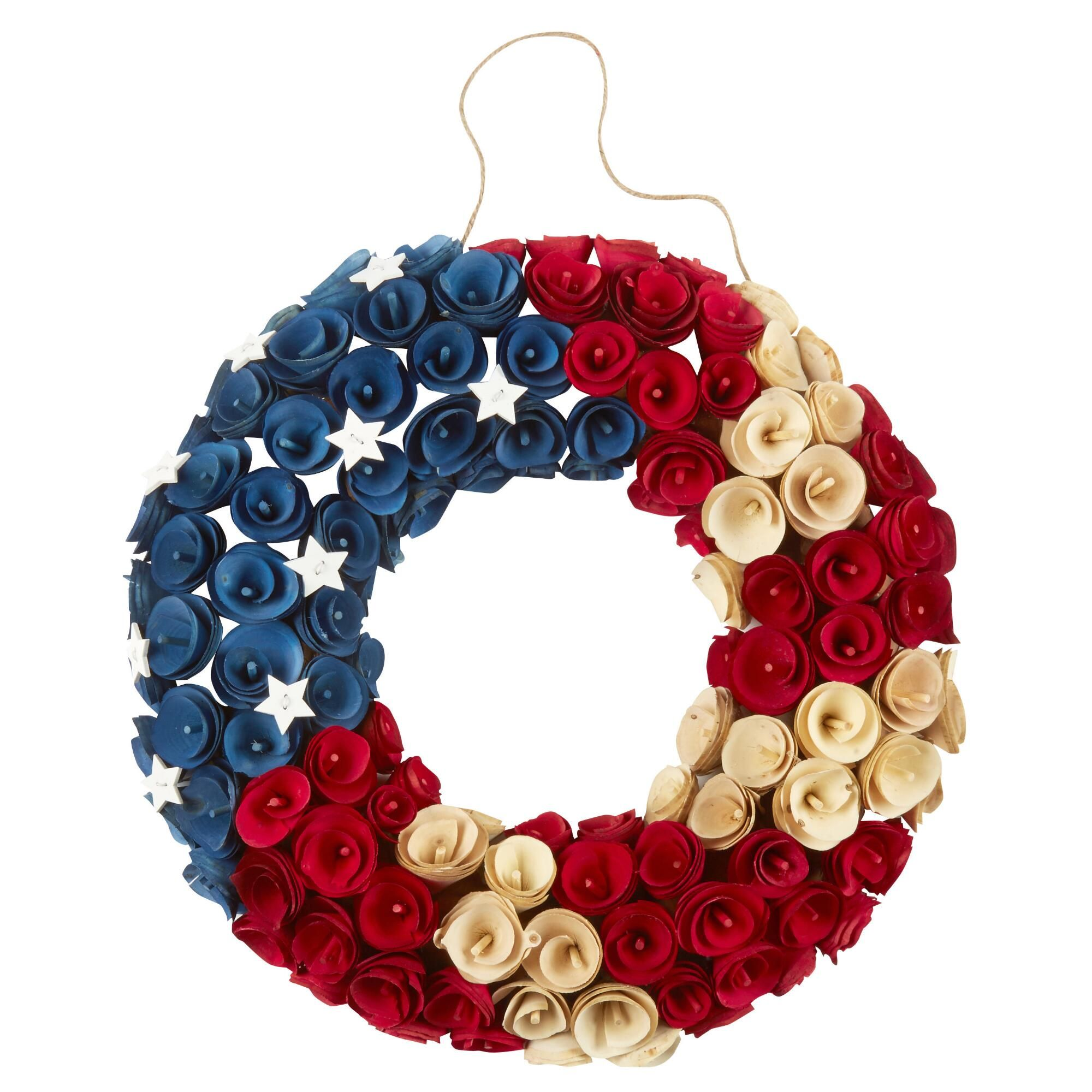 Raise Your Spirits With Our Festive Dried Rose Wreath Accented By White Stars This Patriotic Decor Has A American Flag Wood Rose Wreath Patriotic Decorations