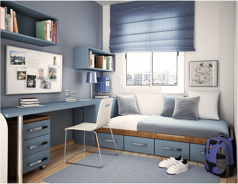 Small Bedroom For Kids With Study Table And Small