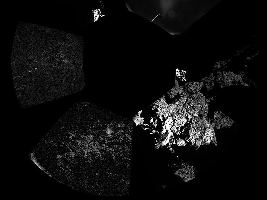 La primera foto que la cápsula espacial 'Philae' envió desde el cometa 67P/Churyumov-Gerasimenko.