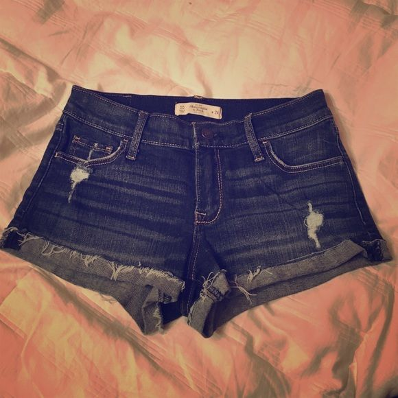 Abercrombie & Fitch Denim Shorts A&F denim shorts. Medium wash. Worn VERY few times- like new, perfect condition! Size is 00 (or 24) but fits loose- could easily fit a 0-1 (or 25). This denim has the stretchier feel, not as rigid as some fits. 99% cotton, 1% elastane. Abercrombie & Fitch Shorts Jean Shorts