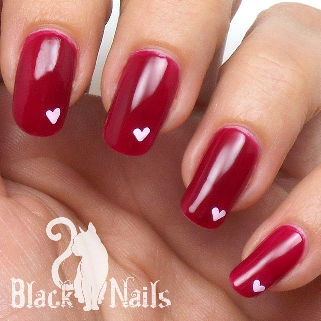 Simple Nail Art With 2 Colors: Simple And Sweet Pink On Pink Heart Nail Art For