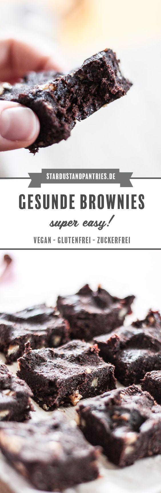 Gesunde Brownies - vegan, zuckerfrei und glutenfrei, ohne Backen - Rezepte -