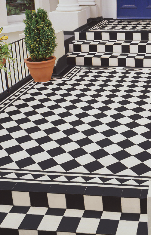 Black And White Floor Tiles Victorian Tiles Patterned Floor Tiles Tile Steps