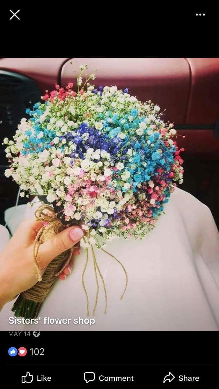 Very Modern Baby S Breath Bouquet In Rainbow Colors Rainbow Bouquet Babys Breath Bouquet Bridal Bouquet