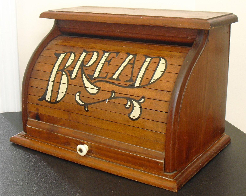 Sold Vintage Wooden Roll Top Bread Box Rustic Brown Bread Bin