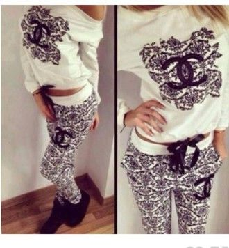 sweater chanel tracksuit black&white