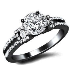 love the black gold round diamond engagement ring black gold certified with a center white diamond and of surrounding diamonds - Black And White Diamond Wedding Rings