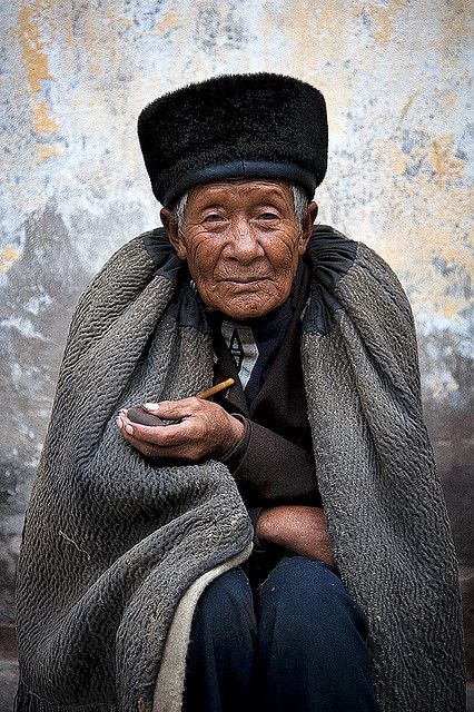 Man with pipe, China #world #cultures