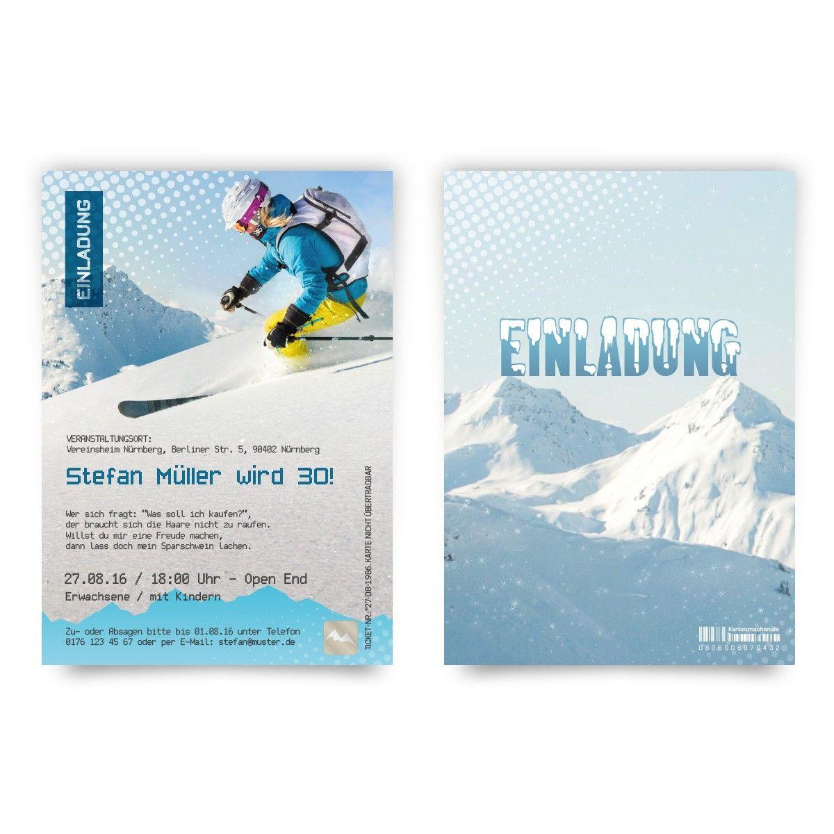exceptional einladungskarten bestellen #2: Einladungskarten als Skipass online gestalten und bestellen!