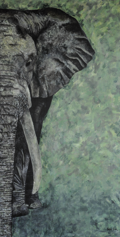 Pintura Al Oleo De Elefante Gris Con Verde Elefante Blanco Y Negro