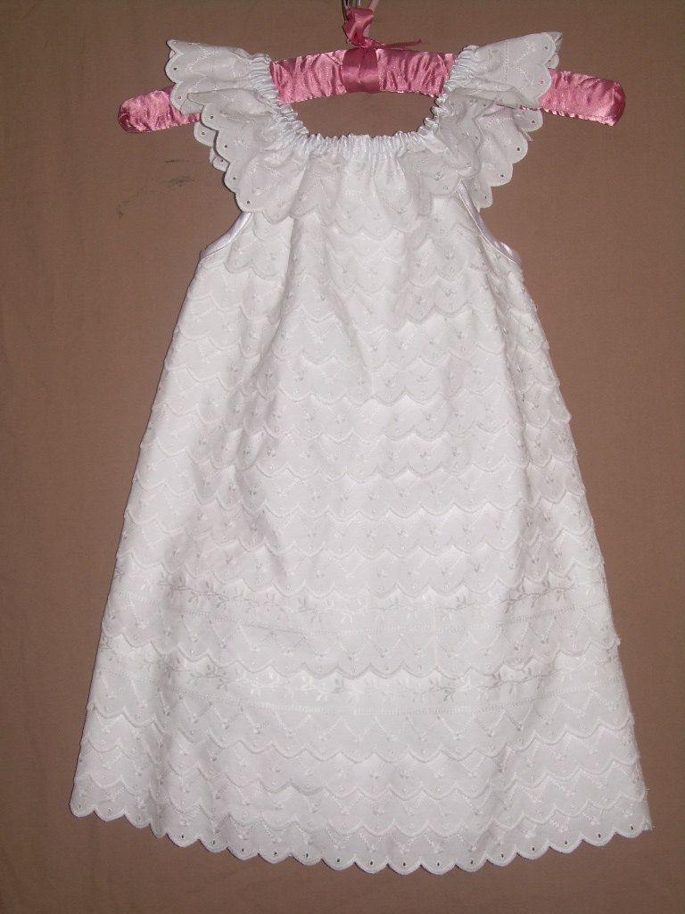 White lace texture bridal layered ruffled - Items Similar To Custom Flower Girls Peasant Pillowcase Dress Heirloom Wedding Beach Portrait Photo Picture White Layers Eyelet Lace Neck Ruffle Sizes 5 6 7