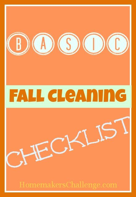 Basic Fall Cleaning Checklist  Fall Cleaning Checklist Cleaning