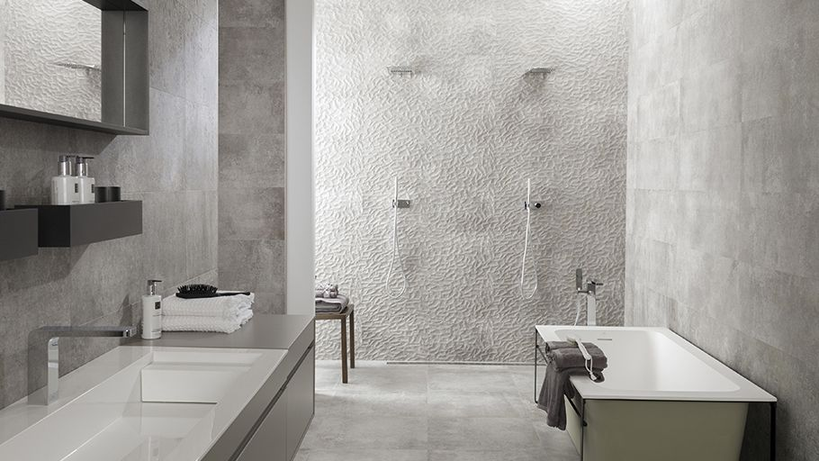Floor And Decor Bathroom Tile Simple New # Cement Reliefs And Textures Soften The Sturdiness Of 2018