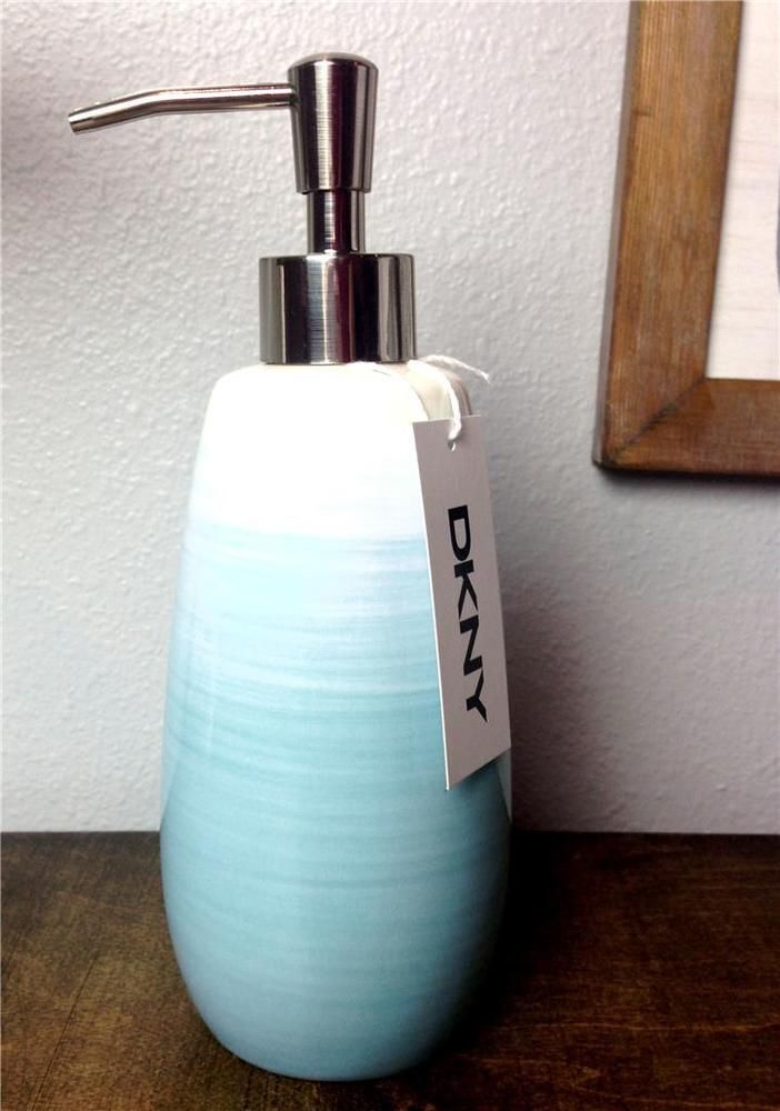 Dkny Soap Lotion Pump Dispenser Teal Blue Green White Ombre Ceramic Donna Karan Master Bath Pinterest And
