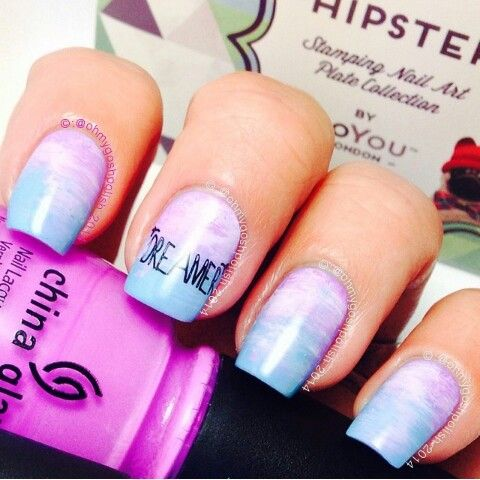 cute light blue  purple nail polish design with images