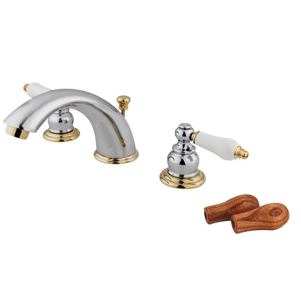 Kingston Chrome Polished Br Widespread Bathroom Faucet W Pop Up Kb974b