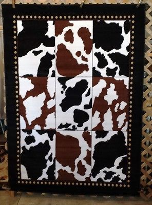 8x11 6x8 Or 3x4 Cow Print Cowboy Country Western Cabin Lodge Area Rugs Carpets