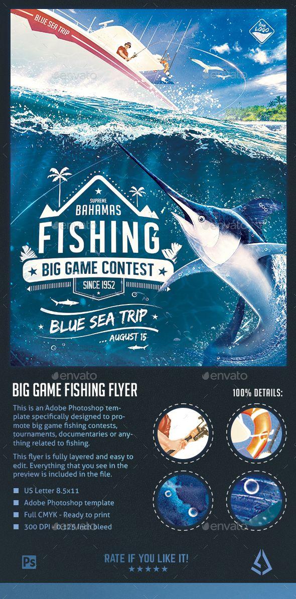 adobe photoshop brochure templates - big game fishing flyer blue water fishing poster
