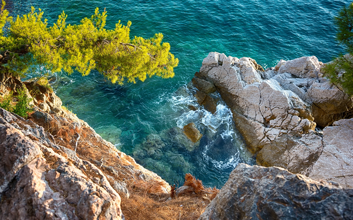 Download Wallpapers Sea Coast View From The Cliff Stones Mediterranean Sea Summer Besthqwallpapers Com Mediterranean Sea Dream Vacations Destinations Landscape Wallpaper
