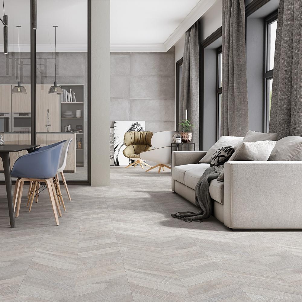 Kenridge Chevron Gray 24x48 Matte Porcelain Tile In 2020 Living Room Tiles Grey Tiles Living Room Grey Flooring Living Room