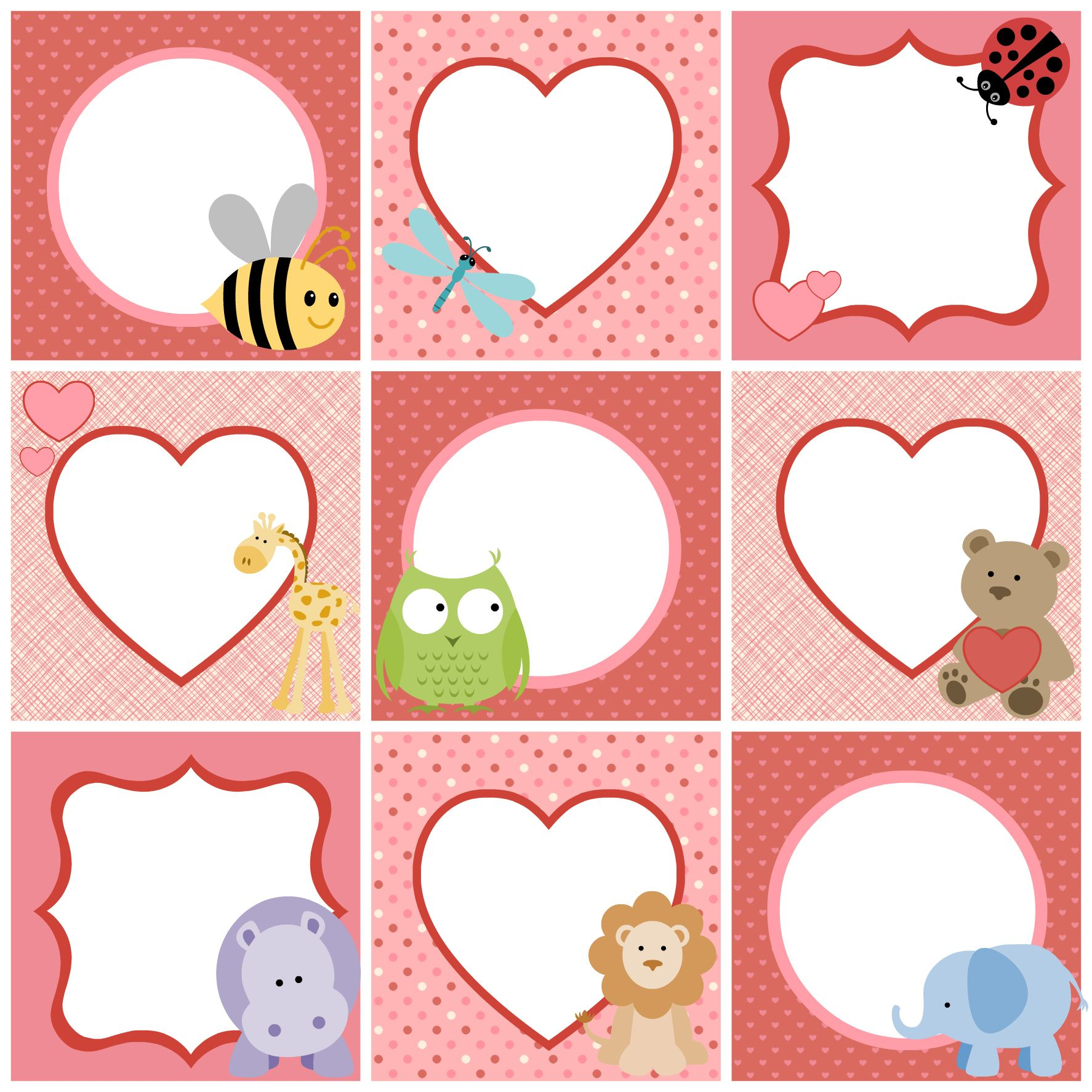 Valentine's day cute printable tags for kids