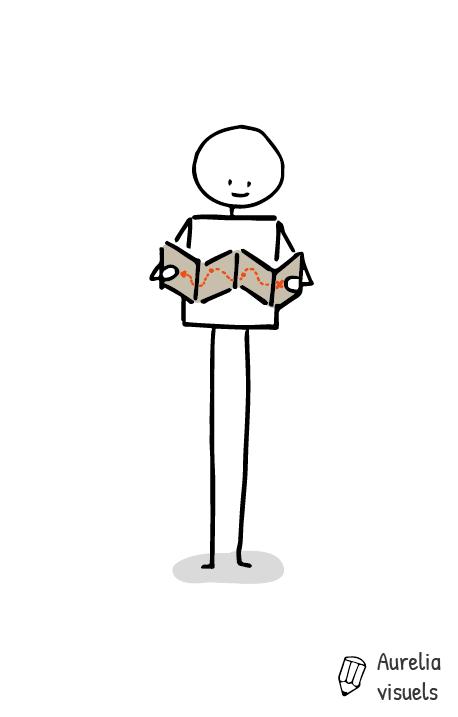 Petit bonhomme qui lit une carte aurelia visuels - Le dessin du bonhomme ...