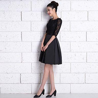 c1775167d Vestido de Dama de Honor - Negro Corte A Escote A la Base - Hasta la Rodilla  Encaje   Satén 2016 -  69.99