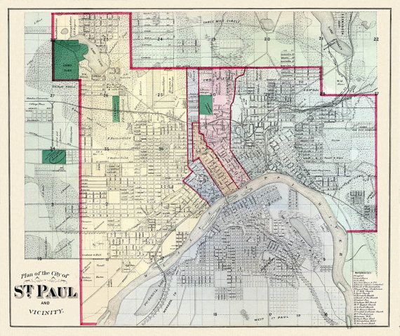 St Paul Minnesota Wall Art St Paul Minnesota Vintage Map Old St Paul Map 1883 Saint Paul Minnesota Map Poster Ramsey County MN