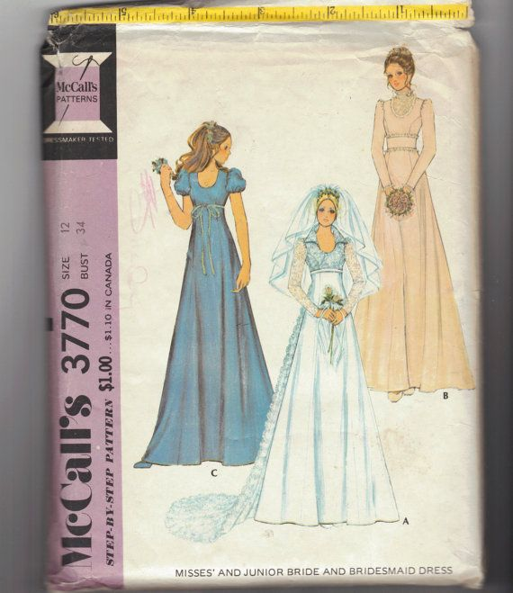 Vintage 70\'s Wedding sewing pattern. Bride, Boho, Hippie, Prairie ...