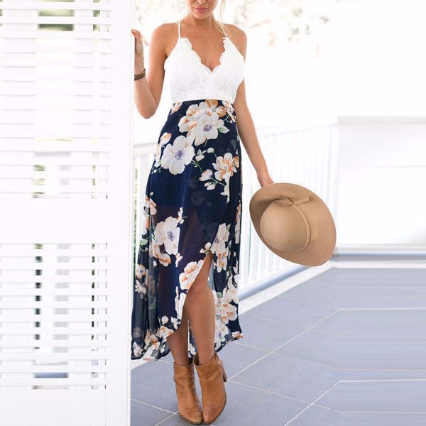 White Chiffon Front Silt Casual Style Backless Halter Top: Blue Floral Print Lace Long Dress