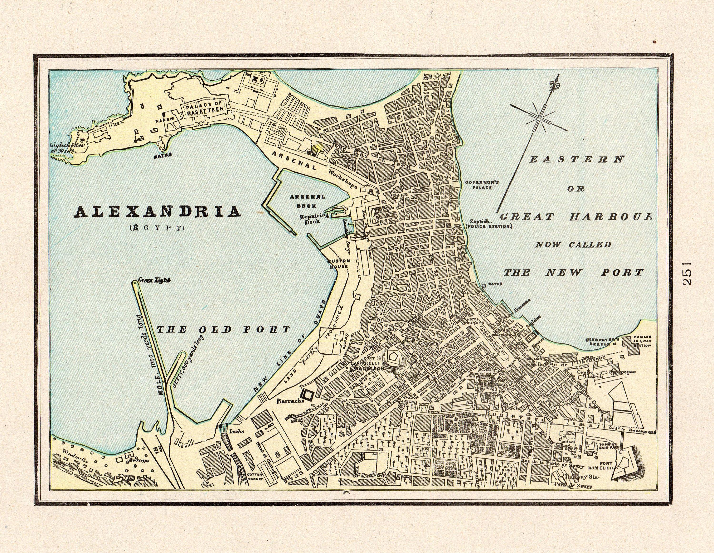 Alexandria Egypt Map 1900 Antique ALEXANDRIA EGYPT Map Collectible Map of Alexandria