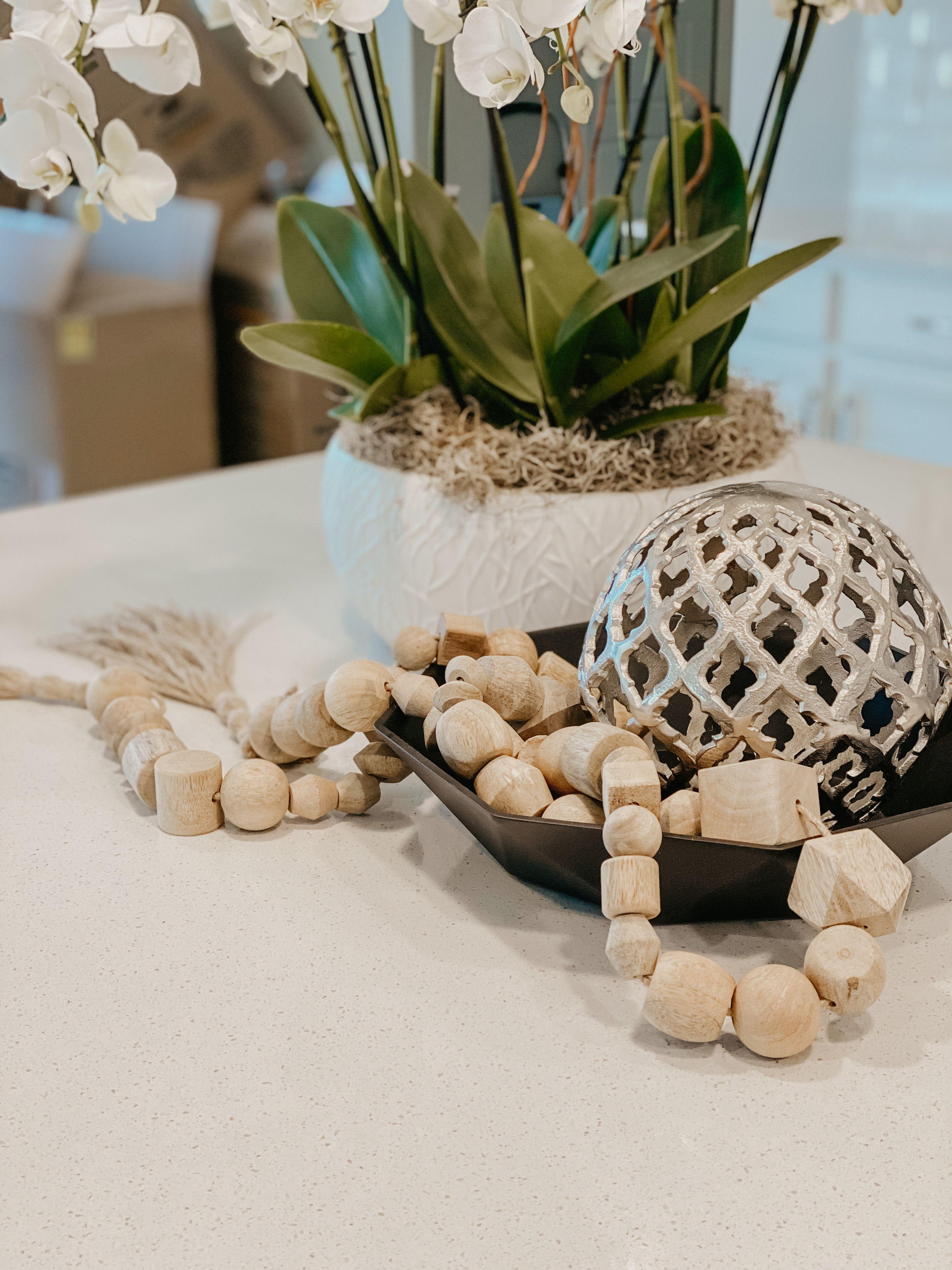 "Studio McGee X Threshold Wooden Beads Garland  Decor 96"""