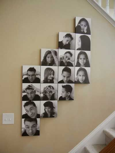 buenas ideas para mostrar las fotografas familiares en casa