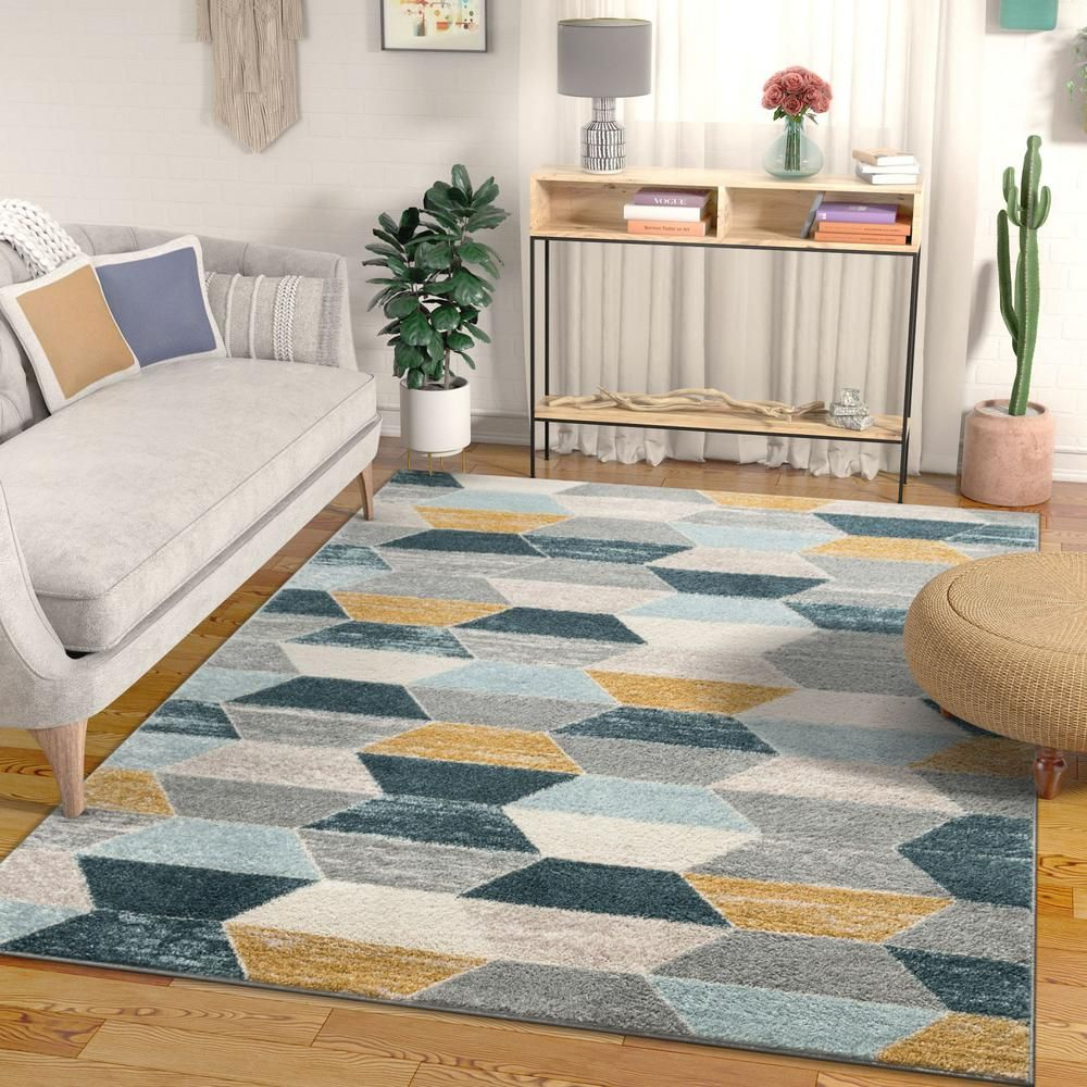 Well Woven Mystic Maddox Modern Geometric Blue 7 Ft 10 In X 9 Ft 10 In Area Rug Mc 274 7 The Home Depot Mid Century Modern Rugs Yellow Area Rugs Blue Gray Area Rug