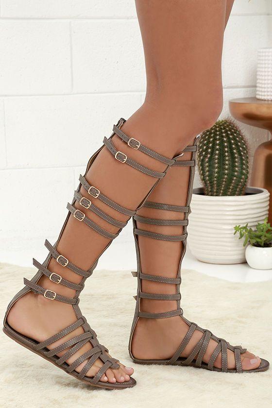 Atlantis Taupe Tall Gladiator Sandals